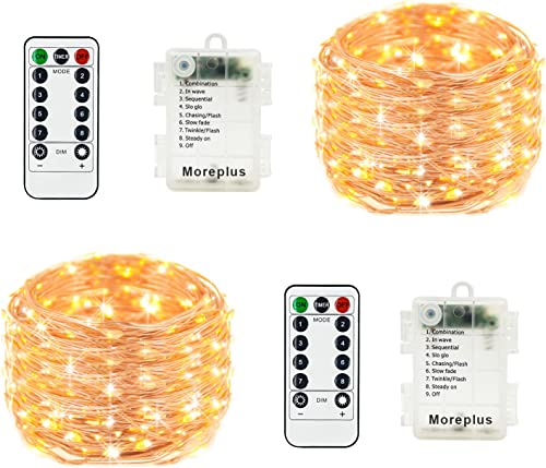 Moreplus 2 Pack Battery Operated Fairy String Lights Waterproof 8 Modes 33ft 100 LED Copper Wire Decorative Lights with Remote Control for Outdoor Indoor Bedroom Garden Wedding Christmas Warm White