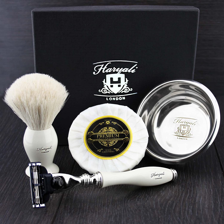White Badger Hair Brush,Gillette Mach 3 Razor, Shaving Soap & Stainless Steel Bowl Shaving Set In Ivory Colour. Perfect For Him Haryali London
