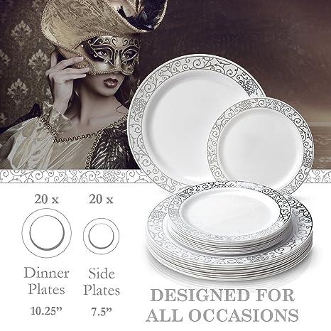 ... 120 pcs platos llanos y 120 pcs ensalada/platos de postre | elegante plástico China cubiertos violeta con oro borde | para comer bien y eventos ...