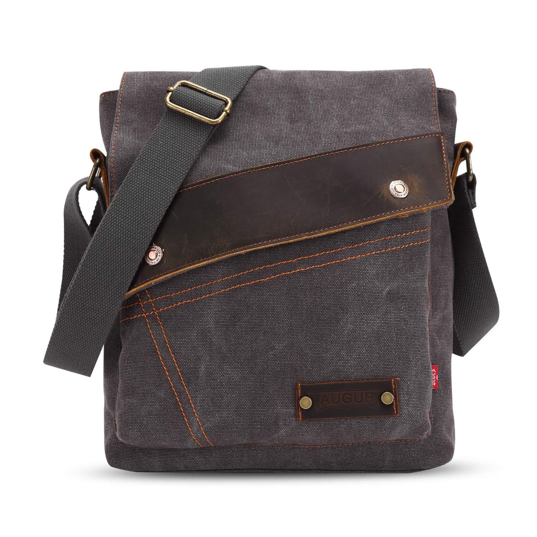 FANDARE Vintage Messenger Bag Briefcase Borsa a Tracolla Borsa Crossbody Scuola Borsa Zainetto Schoolbag Uomo Donna Tela Cachi