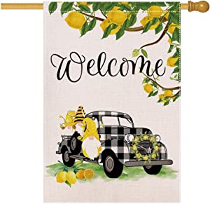 EKOREST Welcome Summer House Flags for Outdoor,Buffalo Plaid Truck with Lemons and Gnomes 28 x 40 Double Sided,Decorative Yard Flags for Spring and Summer,Large Seasonal Farmhouse Outside Home Décor
