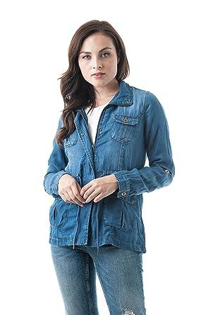 b5367c3890c Khanomak Women s Lightweight Tencel Utility Versatile Militray Anorak Parka  Jackets with Drawstring at Amazon Women s Clothing store