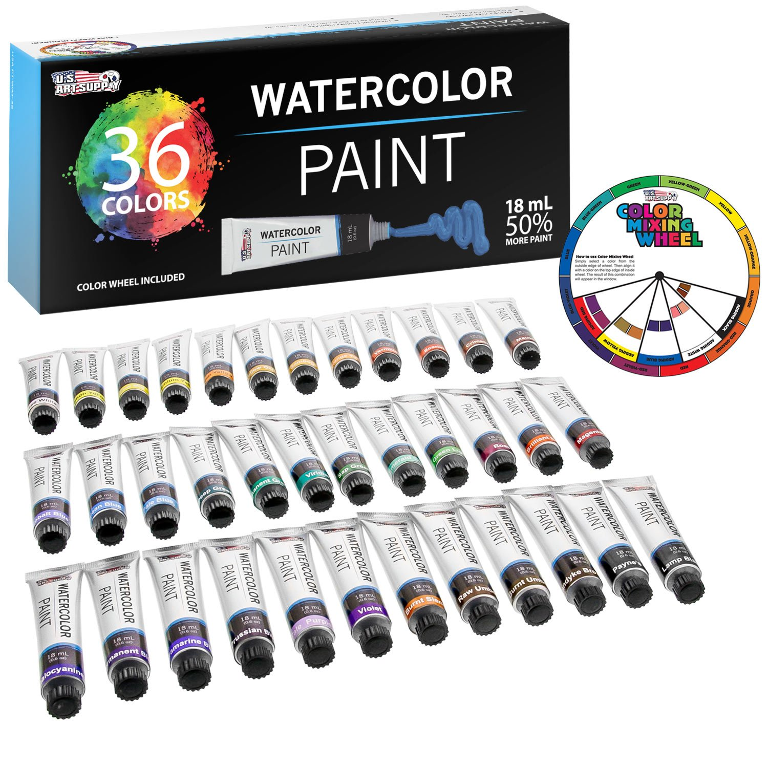 U.S. Art Supply Professional 36 Color Set of Watercolor Paint in Large 18ml Tubes - Vivid Colors Kit for Artists, Students, Beginners - Canvas Portrait Paintings - Bonus Color Mixing Wheel