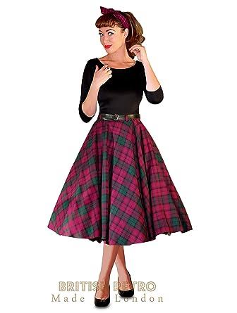 1950 con diseño de estampado de falda de círculos Lindsay Full es ...