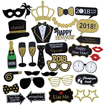 Amazon.com: Funny 2018 Happy New Years Photo Booth Props - Gold ...