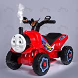 KIDS NEW THOMAS TRAIN STYLE MOTORBIKE RIDE ON 6V BATTERY CAR BIKE WITH STEAM BLUE RED (Red)