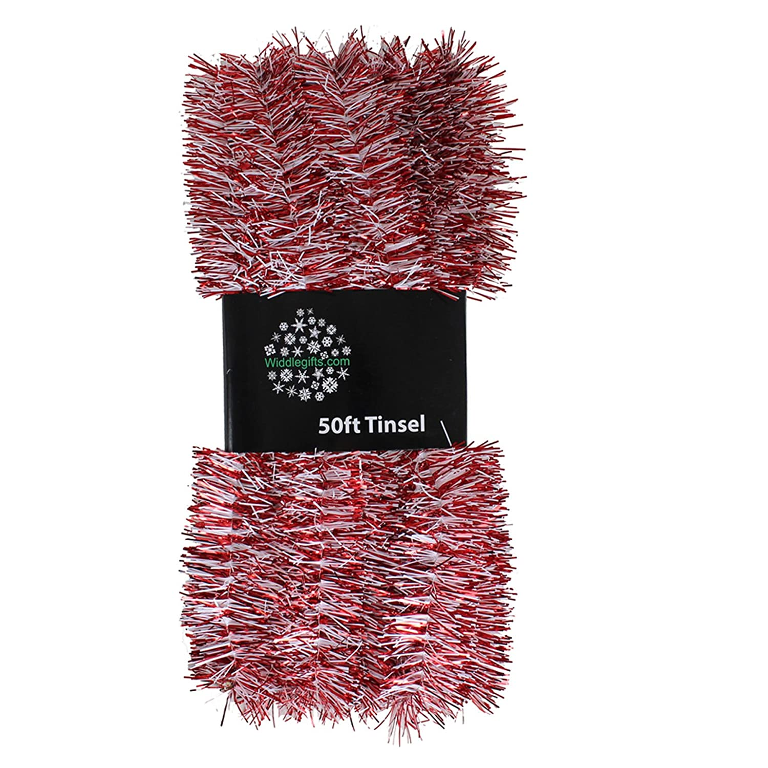 Christmas Tree 50ft x 3cm Tinsel GREAT VALUE - Red & White PMS International