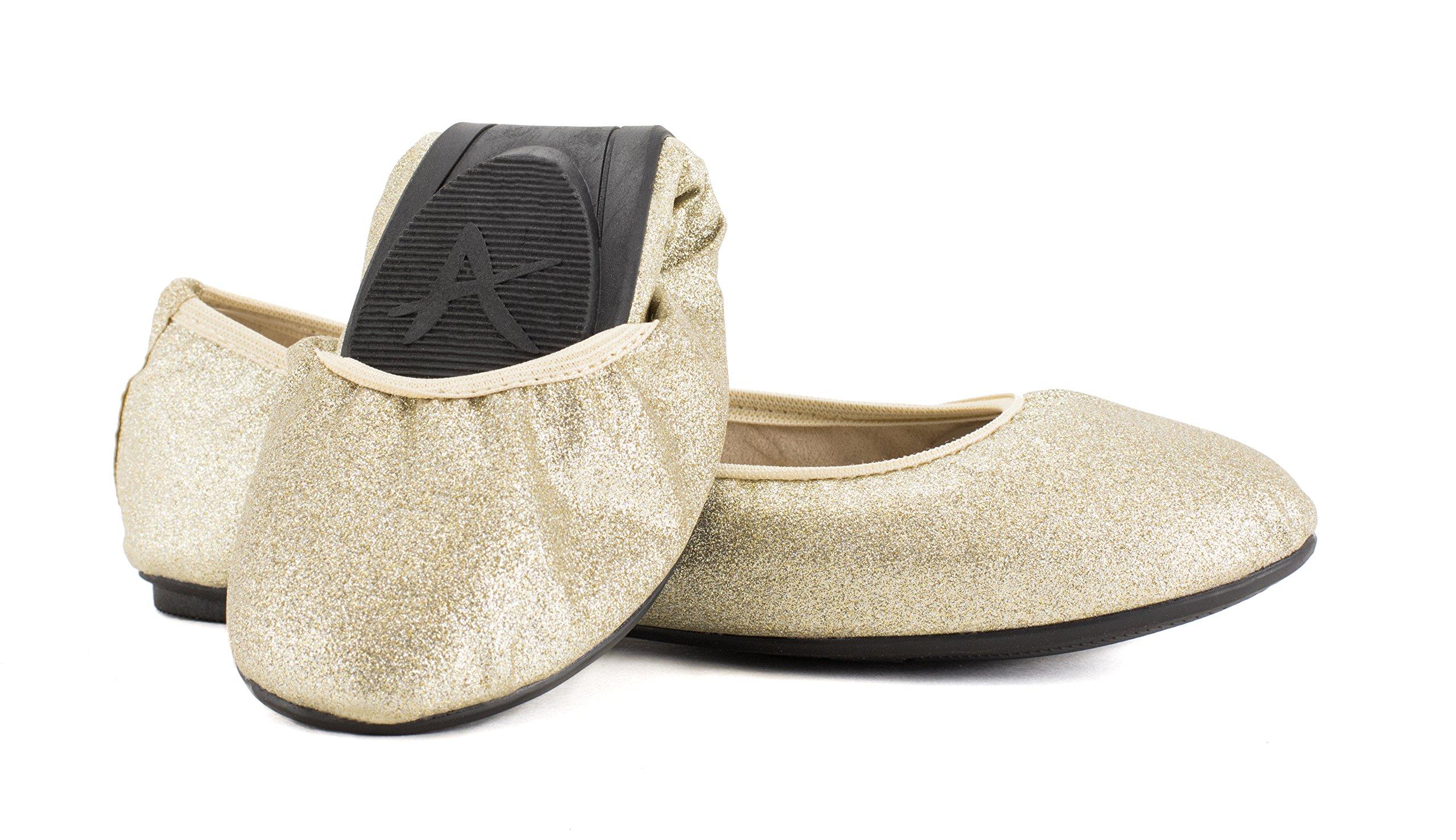 Avanti Skyler Foldable Ballet Flats - Travel Shoes (8, Gold)