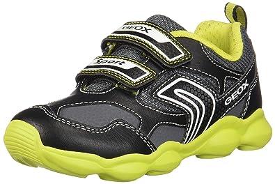 e5dcff4dc1b Geox Munfrey Boy 5 Lightweight Velcro Sneaker, Black/Lime, 24 Medium EU  Toddler