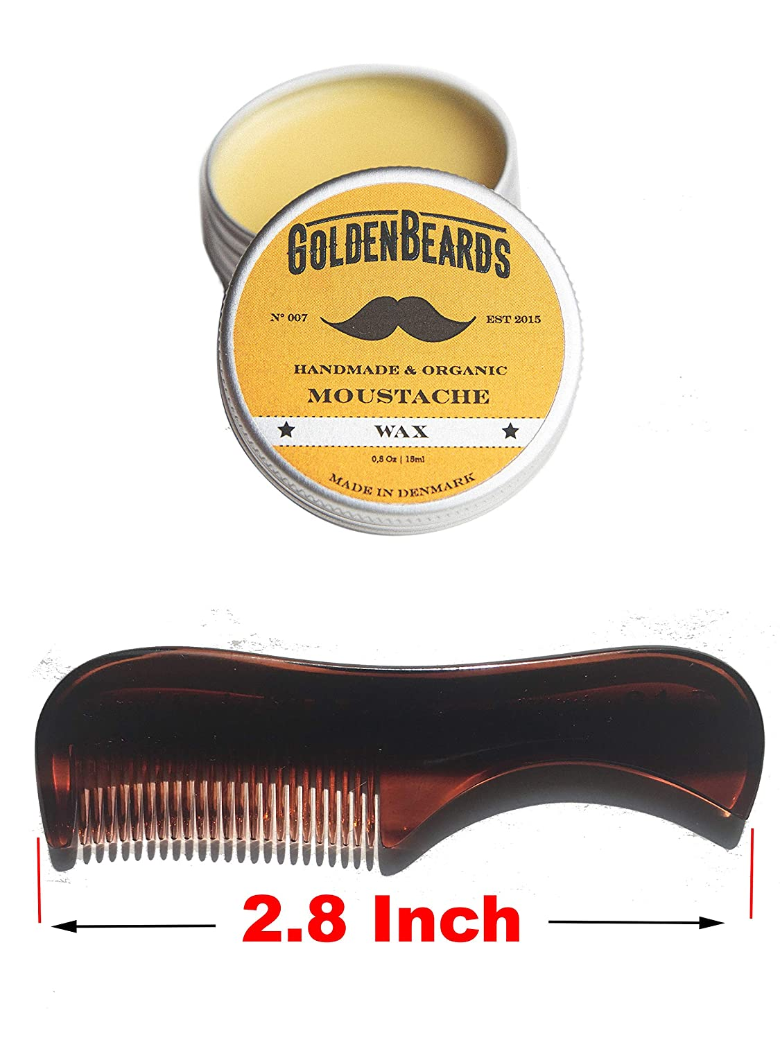 Moustache Wax & Small Comb Get the BEST Moustache Wax KIT with a 2.8 inch Comb at BEST Price, Save money ordering these two products! Golden Beards