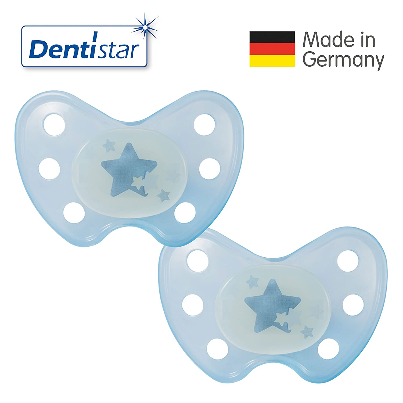 Dentistar® Night Latex Schnuller 2er Set inkl. 2 Schutzkappen - Nuckel - Nacht Leuchtschnuller Größe 3, ab 14 Monate - für Babys - Sterne, blau Novatex GmbH