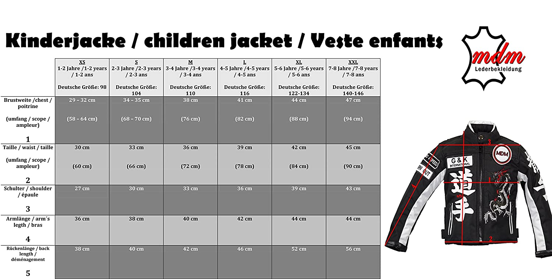 MDM Motorradjacke f/ür Kinder Racing Jacke, Bikerjacke
