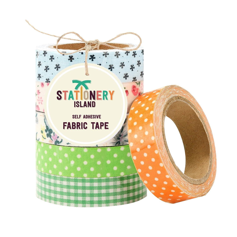 Pack GREEN: 6 rouleaux de Masking Tape / Ruban adhésif décoratif repositionable en tissu pour scrapbooking et travaux manuels - 6 motifs différents - 60 JOURS DE GARANTIE: SATISFAIT OU 100% REMBOURSÉ Stationery Island