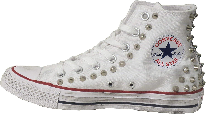 Balzi Calzature Chaussures en Toile Haute Blanche cloutées avec Clous et Paillettes Blanc