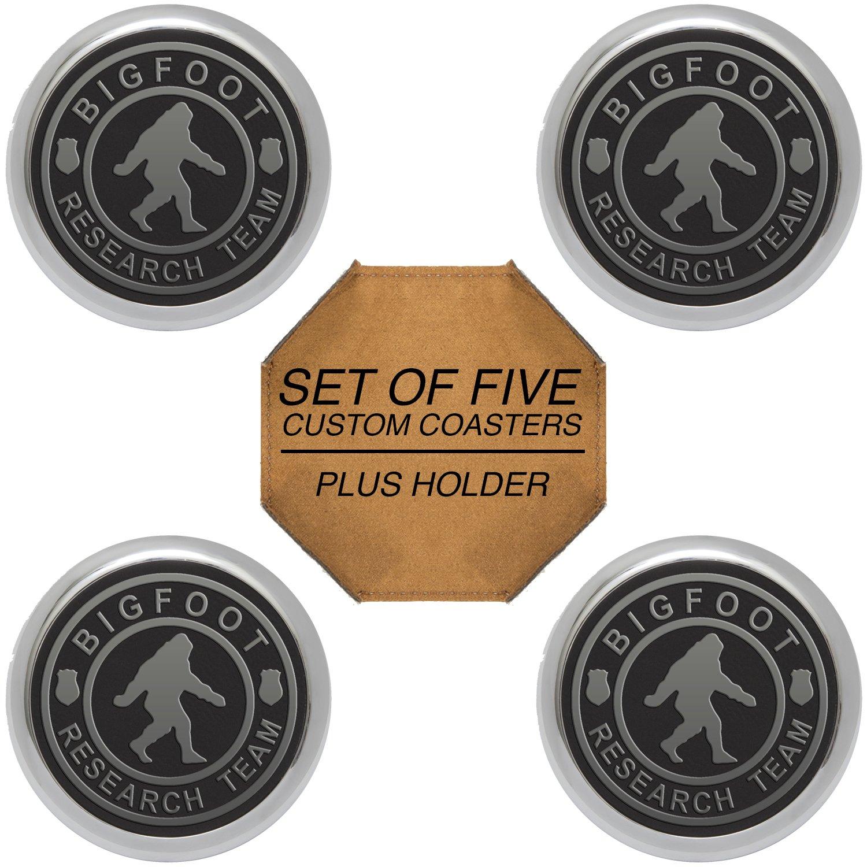 Bigfoot Research チーム刻印入り合成皮革ドリンクコースター 4個セット ホルダー付き Round シルバー GSCR4-RDSR345-294 Round Silver rim and engraving B077ZZGSJV