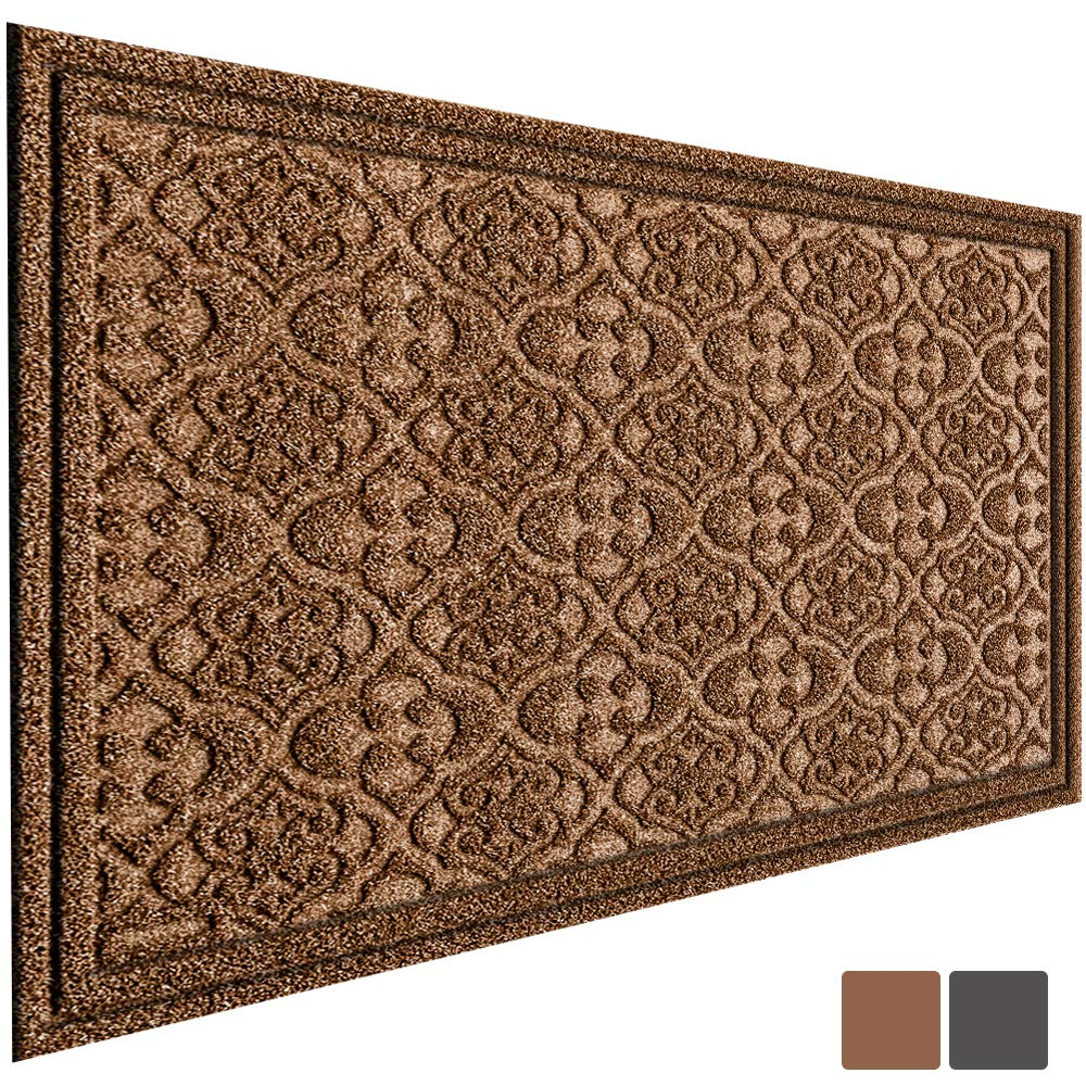 Outdoor Door Mat for Front Door 36 x 24 inch Welcome Mat Debris Mud Trapper Outside Rubber Floor Mat Rug Large Extra Thick Textured Outdoor Mat for Entryway Frontgate Waterproof Non Slip Outdoor Brown