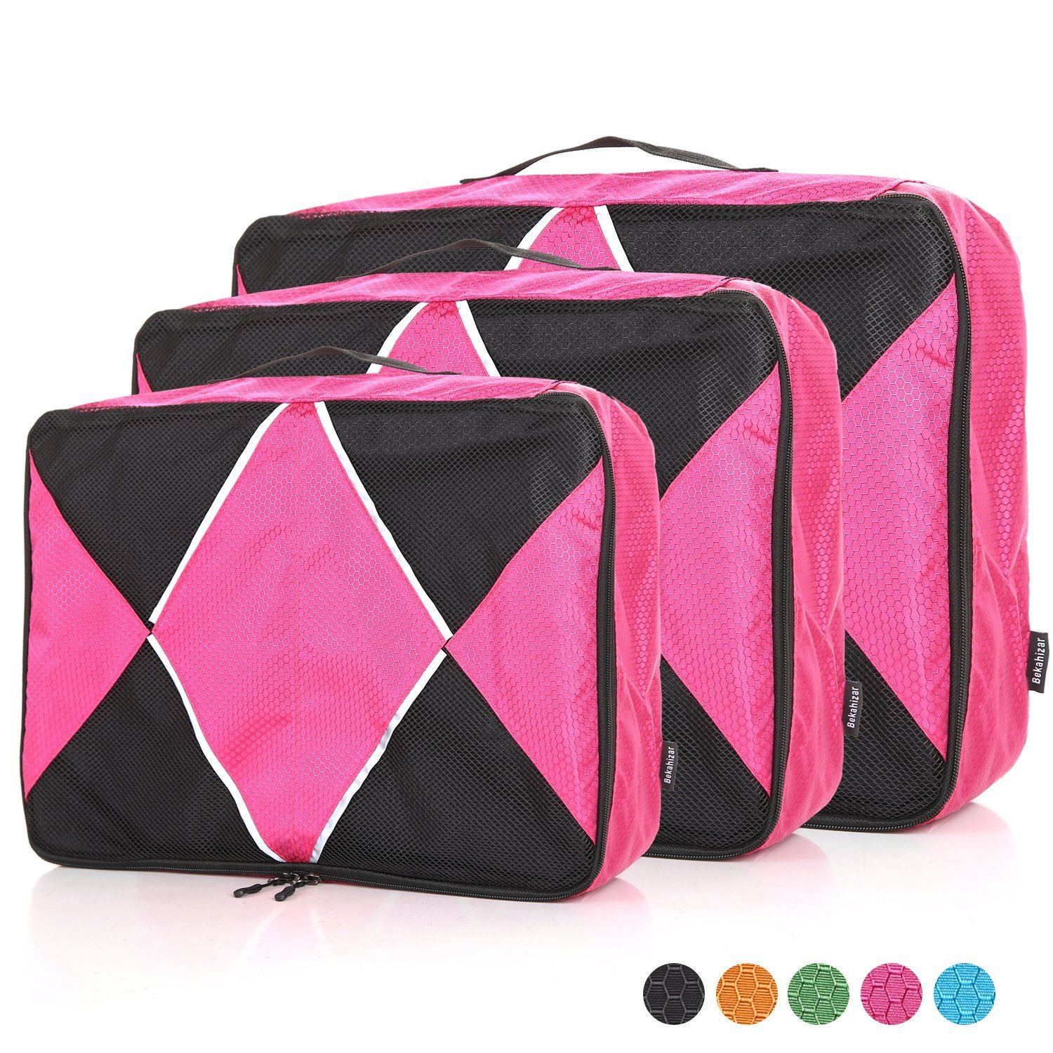 Bekahizar Packing Cubes 3 Set Travel Luggage Packing Organizers in 5 Colors (Fushcia)
