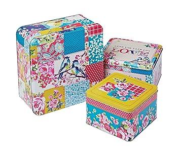 Smartbox Cooksmart - Cajas cuadradas de Lata para Pasteles, Modelo Oriental Patchwork, Multicolor, Juego de 3: Amazon.es: Hogar