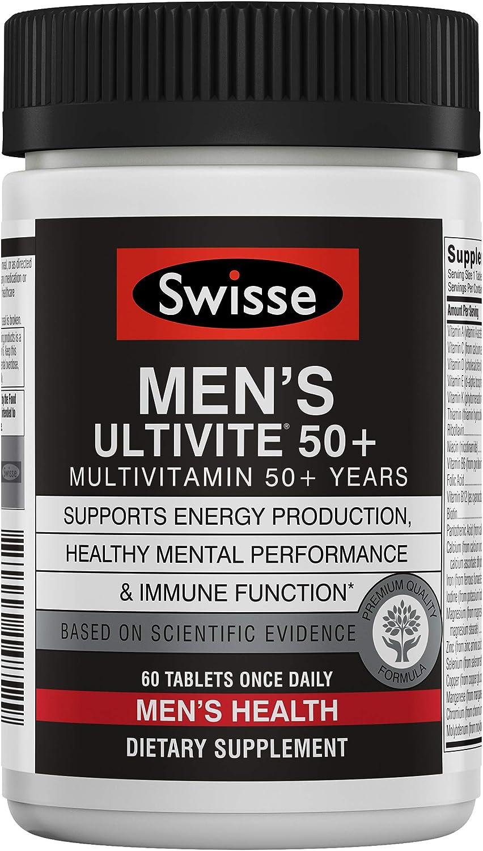 Swisse Premium Ultivite Daily Multivitamin for Men 50 Plus | Energy & Stress Support, Rich in Antioxidant & Minerals | Vitamin A, Vitamin C, Vitamin D, Biotin, Calcium, Zinc & More | 60 Tablets