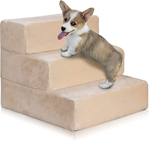 ZENY 3 Tier Pet Stairs for Cats or Dogs High Density Foam Pet Ladder Pet Ramp