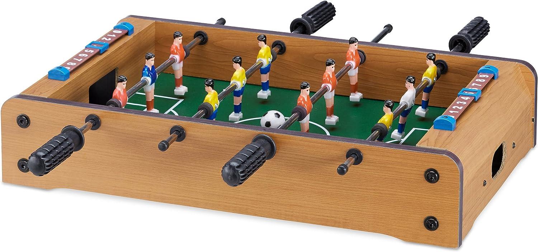Relaxdays Futbolín de Mesa para 2 Jugadores, Color Green-Brown, 11 x 51 x 50 cm (10022515)