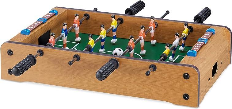 Relaxdays Futbolín de Mesa para 2 Jugadores, Color Green-Brown ...