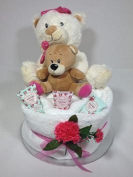 Babysfirstnight - Toalla de lujo para tartas con oso de peluche para mamá y bebé, regalo único Regalo perfecto para Navidad, cumpleaños, aniversario.