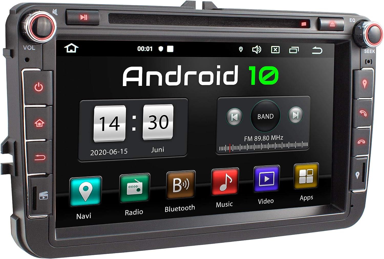 XOMAX XM-11GA Radio de Coche con Android 10 Adecuado para VW Seat Skoda I 4Core, 2GB RAM, 32GB ROM I GPS I Soporte WiFi, 3G, 4G, Dab+, OBD2 I Bluetooth I 8