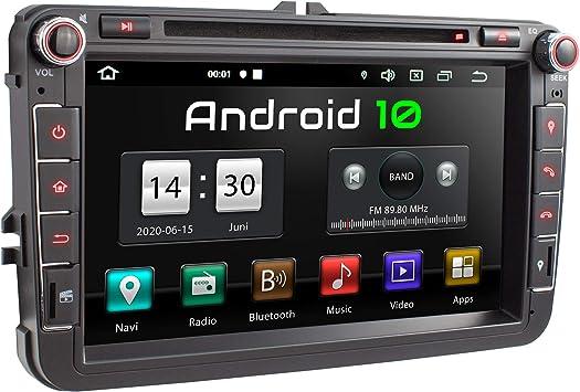 XOMAX XM-11GA Radio de Coche con Android 10 Adecuado para VW Seat Skoda I 4Core, 2GB RAM, 32GB ROM I GPS I Soporte WiFi, 3G, 4G, Dab+, OBD2 I ...