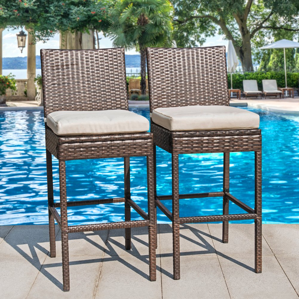 Amazon.com : Sundale Outdoor 2 Pcs All Weather Patio Furniture Brown ...