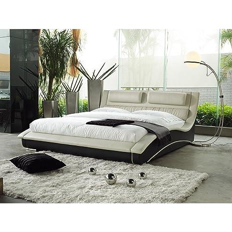 napoli modern platform bed creamblack king - Modern Platform Bed Frame