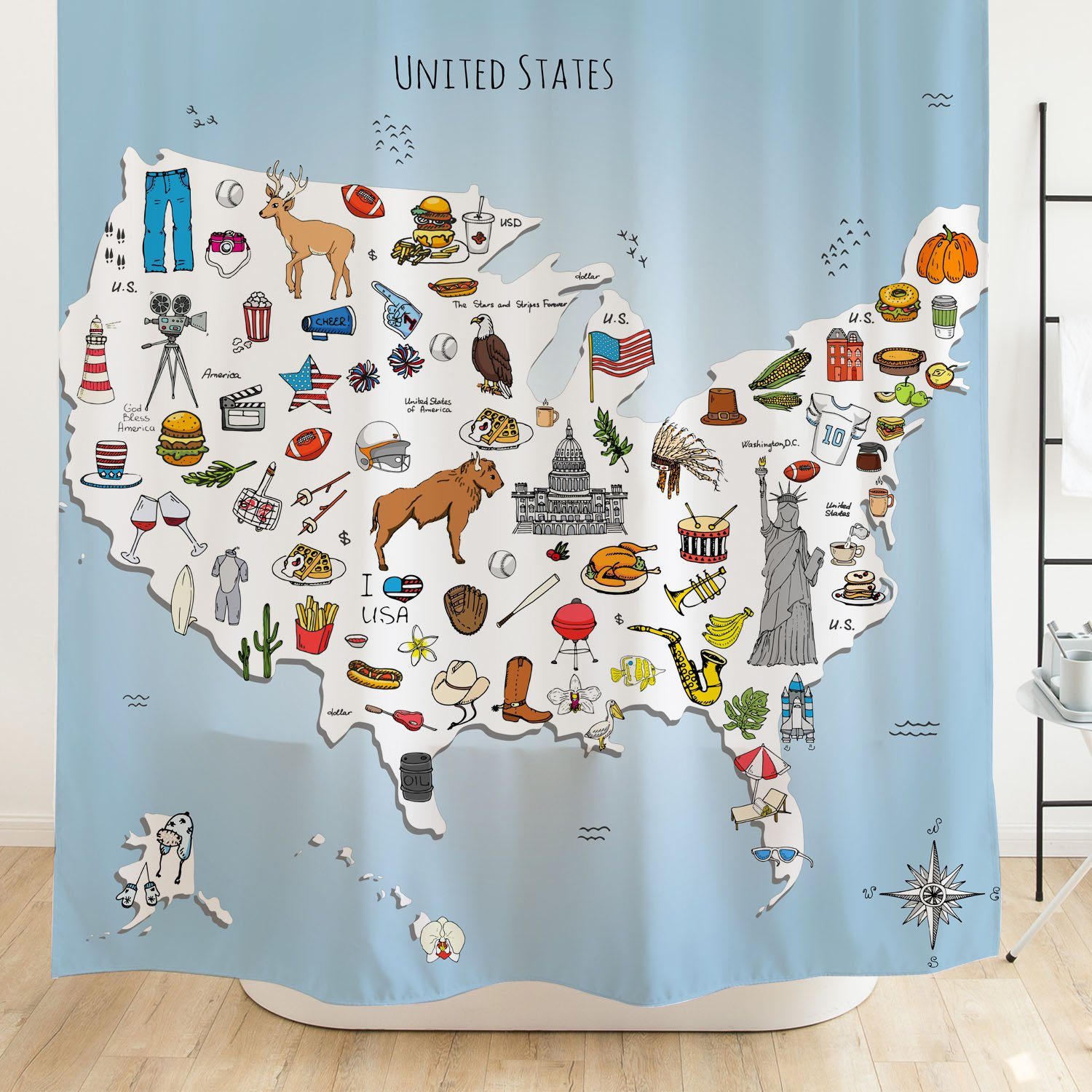 Orange Design USA Map Shower Curtain for Kids Bathroom 71''x71'', Cartoon America Animals Food Fun Facts, Fabric Decor with Hooks Home Decor, Waterproof Mildew-Resistant