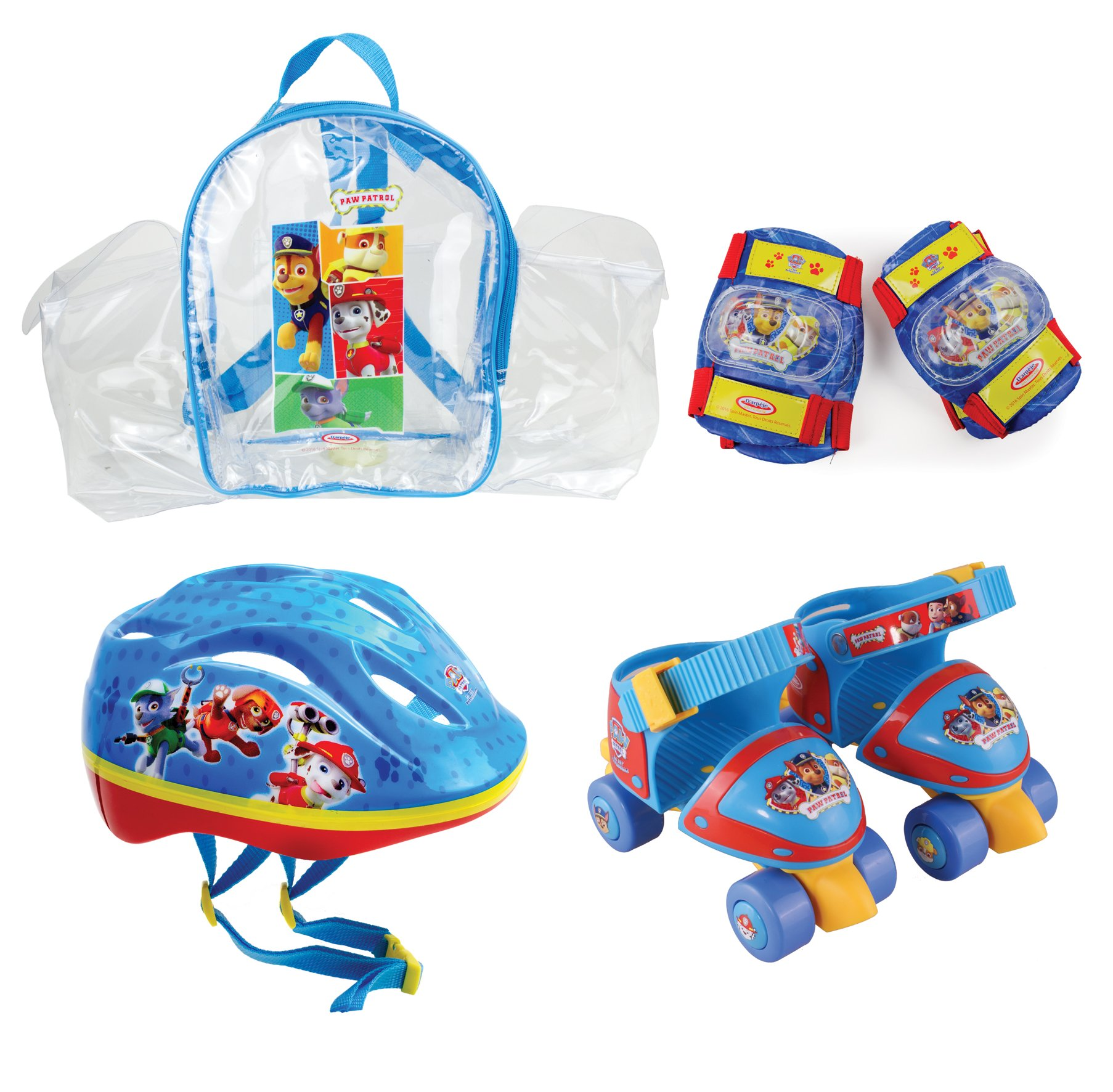 Paw Patrol DARP-OPAW002 Size 7-11 Quad Skate with Helmet, Knee, Elbow Pad and Bag Protection Pack, Multicolor