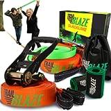 Complete Slackline Kit with Training Line - 60 ft Slack Line Longest Ever w/Tree Protectors Arm Trainer Ratchet Cover…
