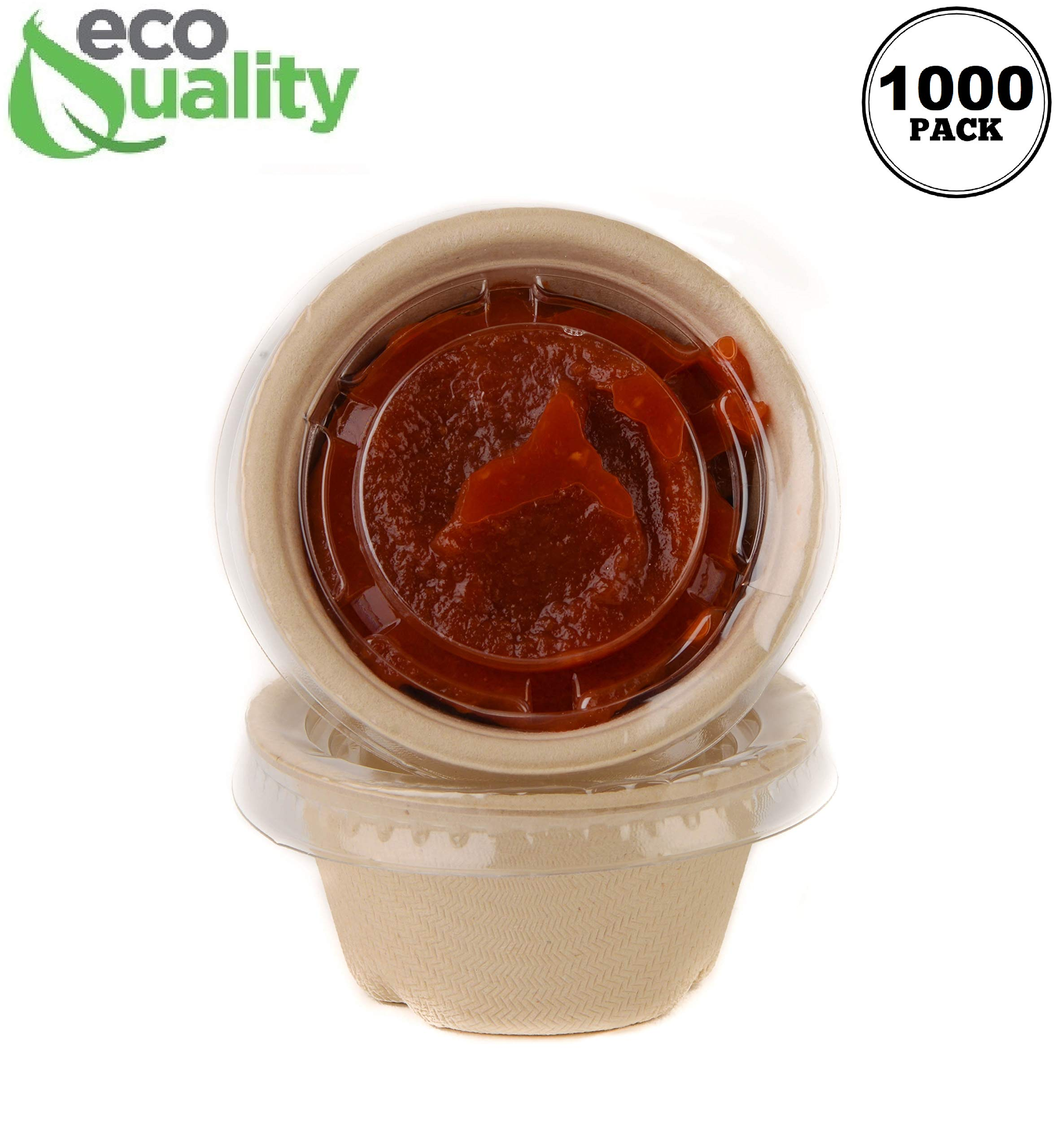[1000 Pack] 2 Oz Compostable Condiment Souffle Bagasse Cups with Lids - Portion Cup with Lid Sugarcane, Biodegradable Perfect for Sauces, Samples, Condiments, Slime, Jello Shot, Food Storage by EcoQuality