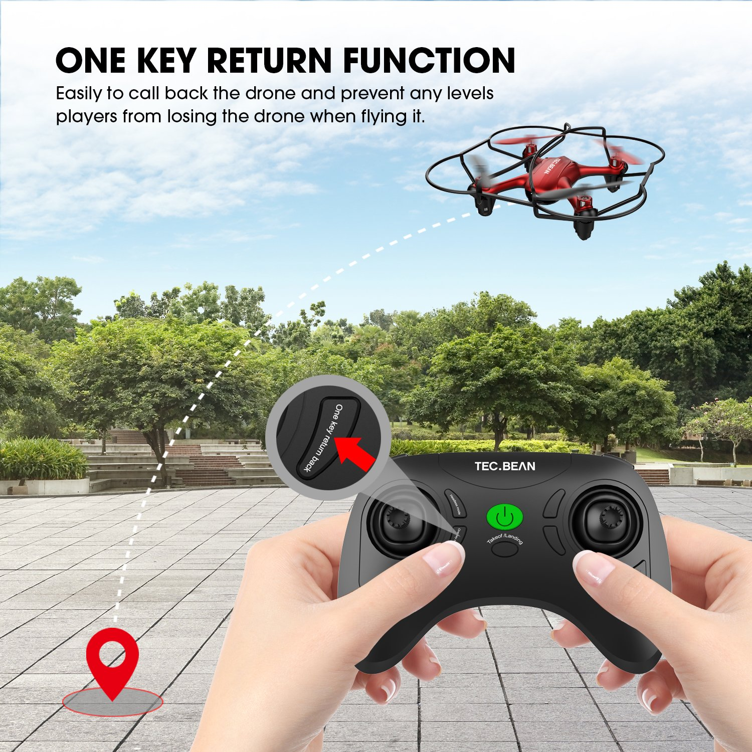 TEC.BEAN Mini Drone for Beginners Hovering Quadcopter with Altitude Hold Mode One Key Take Off Landing Return Home Entry Level for Kids by TEC.BEAN (Image #2)