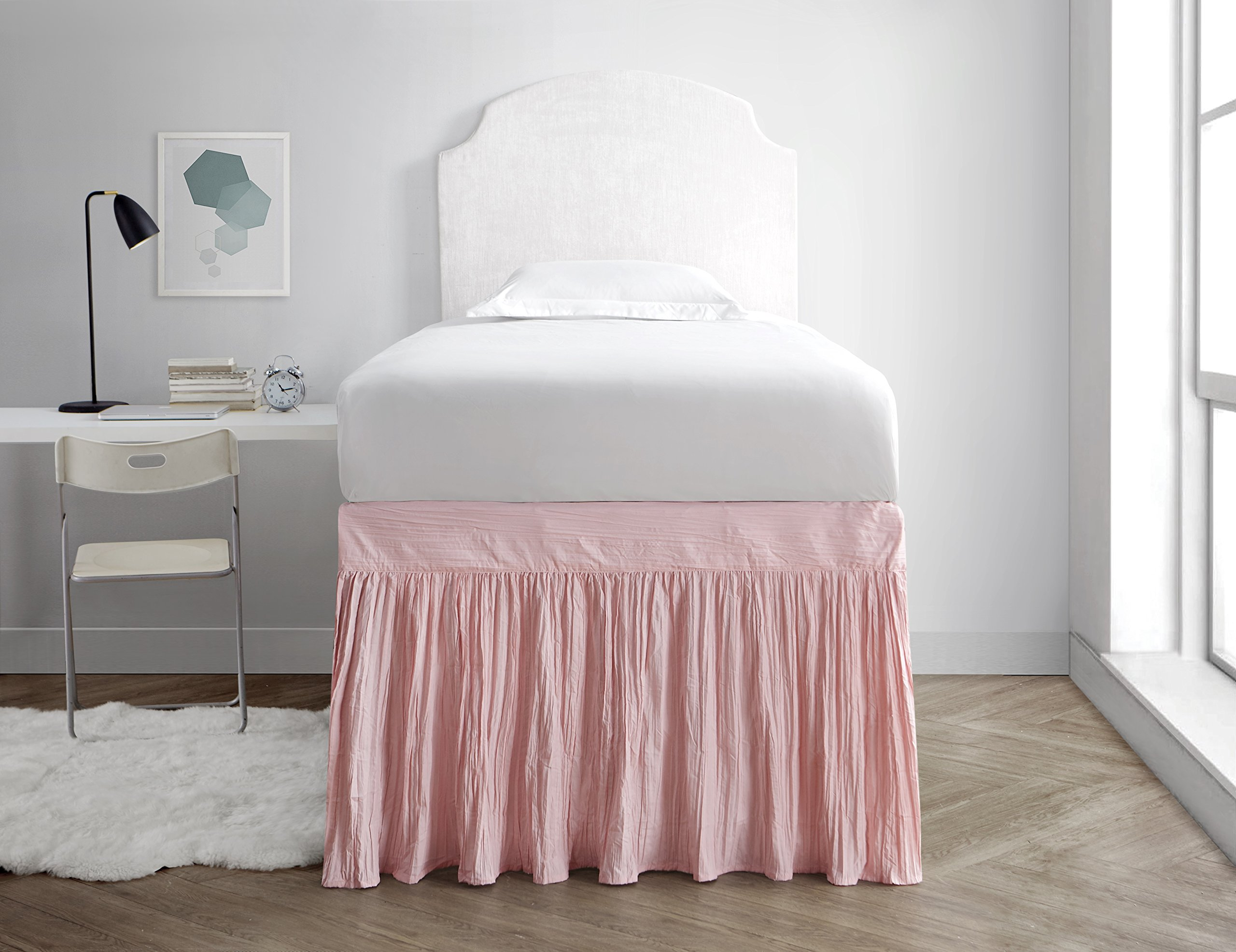 Crinkle Dorm Sized Bed Skirt Panel with Ties (1 Panel) - Rose Quartz