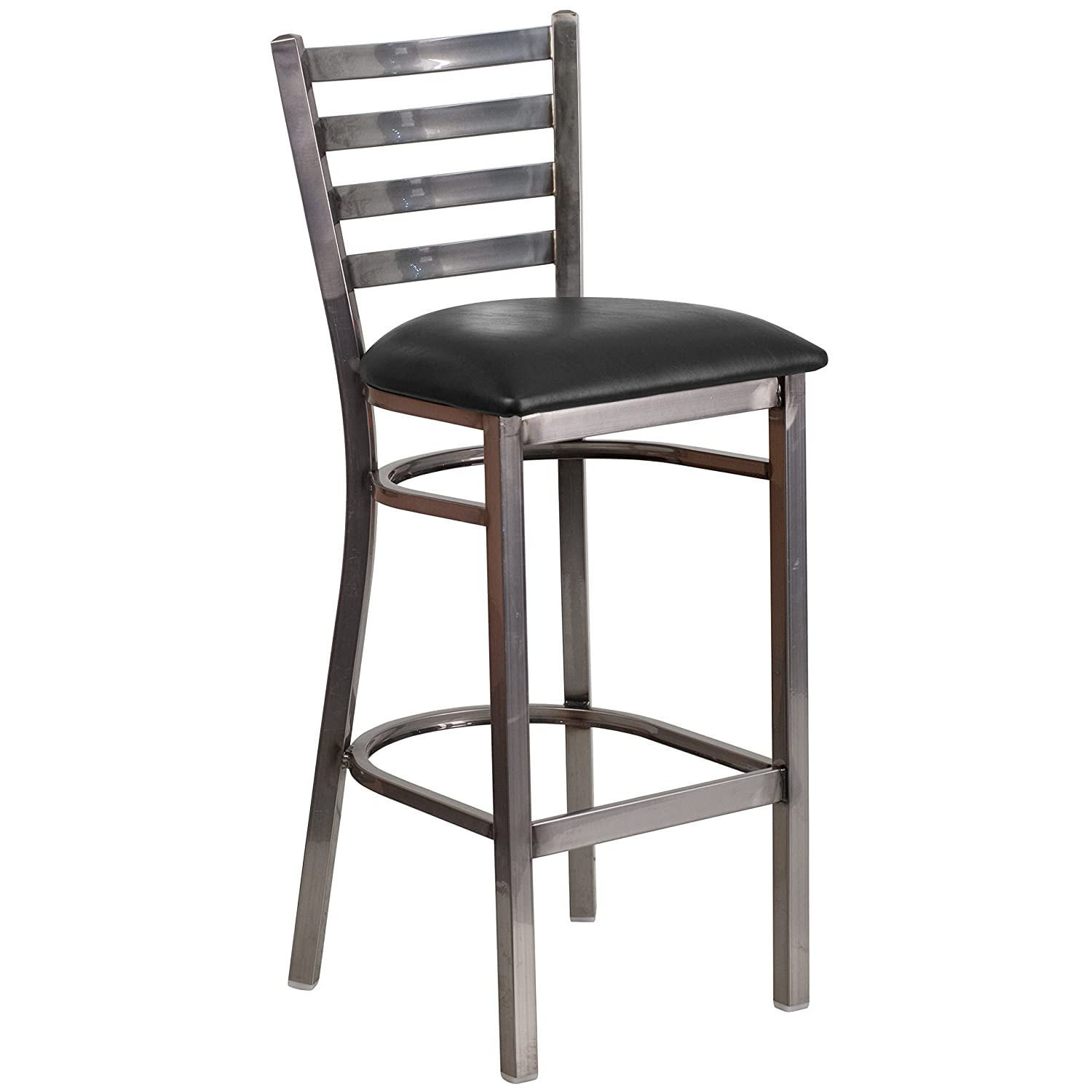 Flash Furniture 2 Pk. HERCULES Series Clear Coated Ladder Back Metal Restaurant Barstool – Black Vinyl Seat