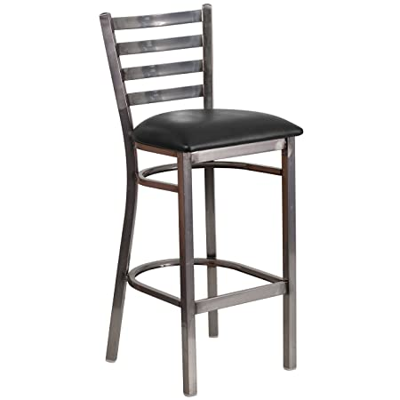 Flash Furniture HERCULES Series Clear Coated Ladder Back Metal Restaurant Barstool – Black Vinyl Seat