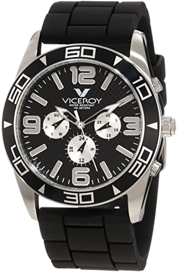 Viceroy 40351-55 - Reloj de Pulsera Hombre, Caucho, Color Negro: Amazon.es: Relojes