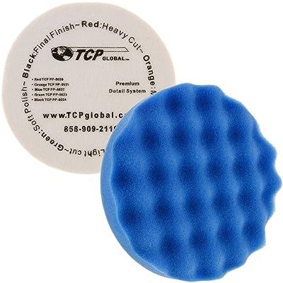 "TCP Global 8"" Blue Waffle Medium Foam Grip Pad Light Cut Polish Buff - Hook & Loop: Automotive"