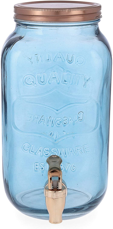 Quid Arizona Dispensador de Bebidas con Grifo, Vidrio, Cobre y Azul Ahumado, 3 litros