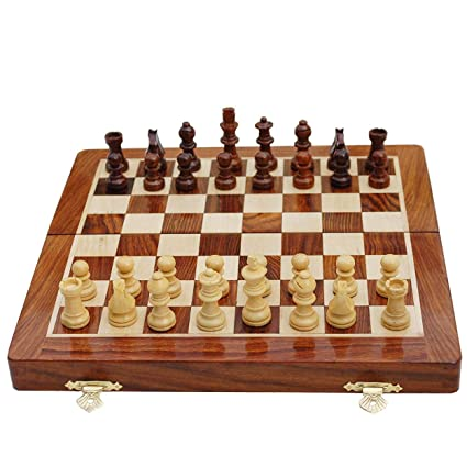 Wooden Hand Crafted (Non Magnetic) (14 in x 14 in) Foldable Chess Board Game