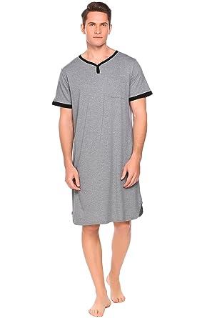 8c20d8e98b7 Ekouaer Men s Nightshirt Nightwear Comfy Big Tall Short Sleeve Henley Sleep  Shirt