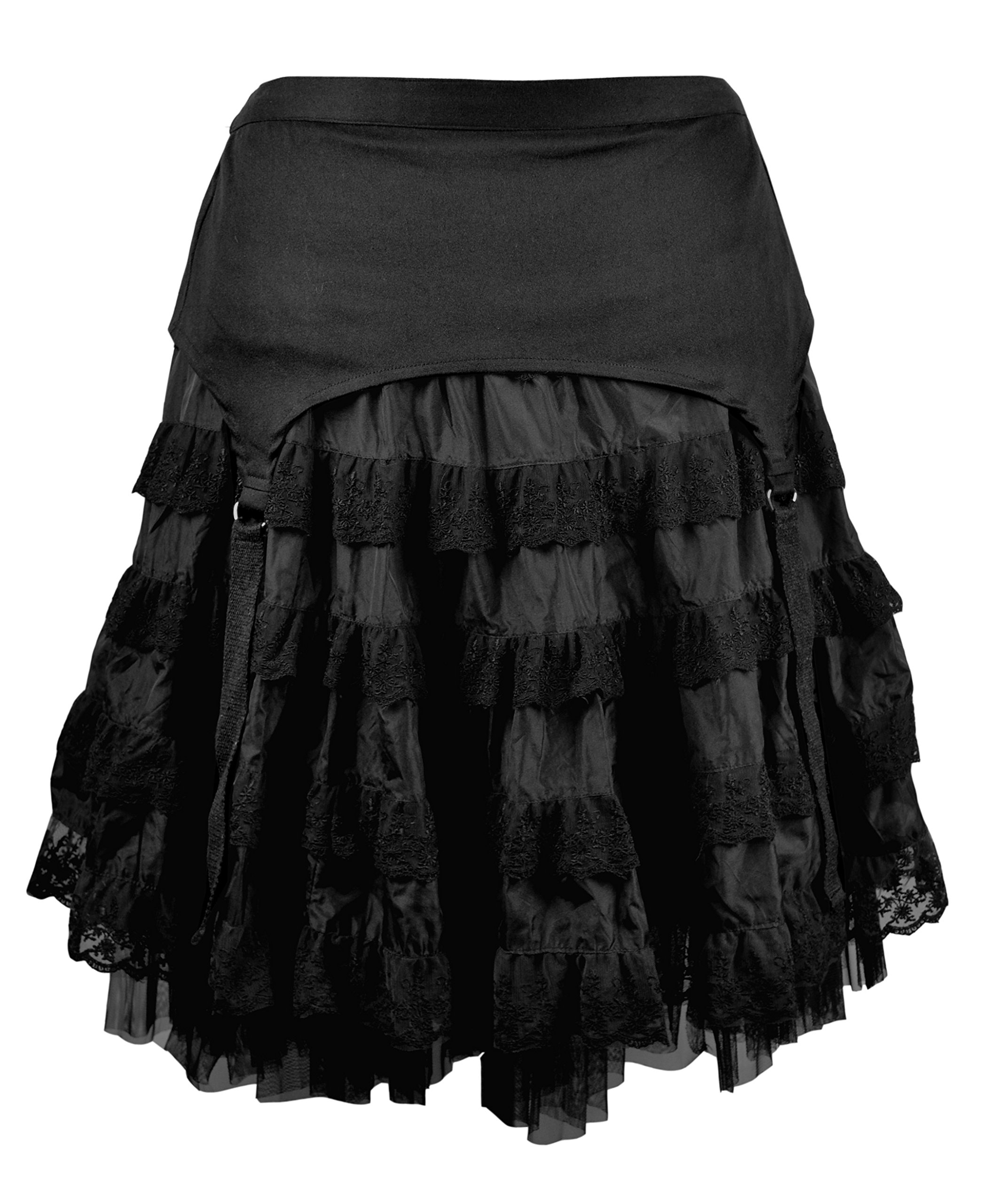 Dark Star Plus Size Black Lace Gothic Tiered D Ring Garter Punk Skirt 1X-3X