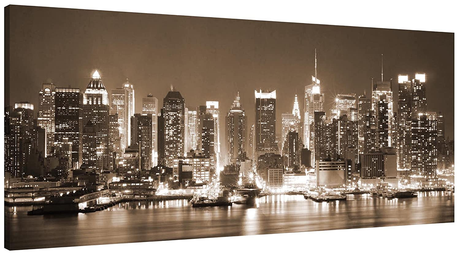 Canvas Picture New York at Night in Mono - Panorama stretched and mounted around a 30 x 14 inch (76cm x 35cm) wooden frame by Pixel Zone Pixel Zone Ltd