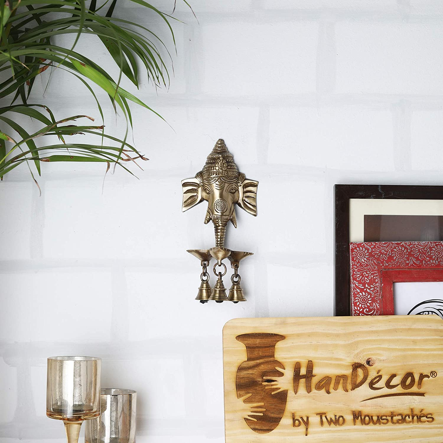 Two Moustaches Brass Ganesha Wall Hanging Deepak with Bells | Brass Oil Lamp| | Home Decor |