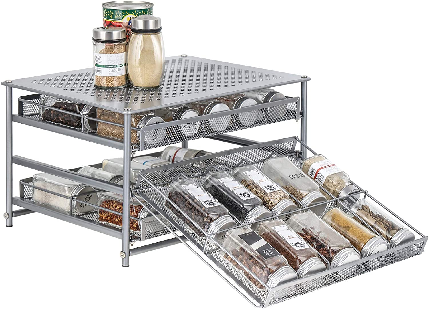 Spice Rack Organizer for Cabinet, 3 Tier 30-Bottle Spice Drawer Storage, Seasoning Shelves for Kitchen Pantry Countertop, Metal (Silver)