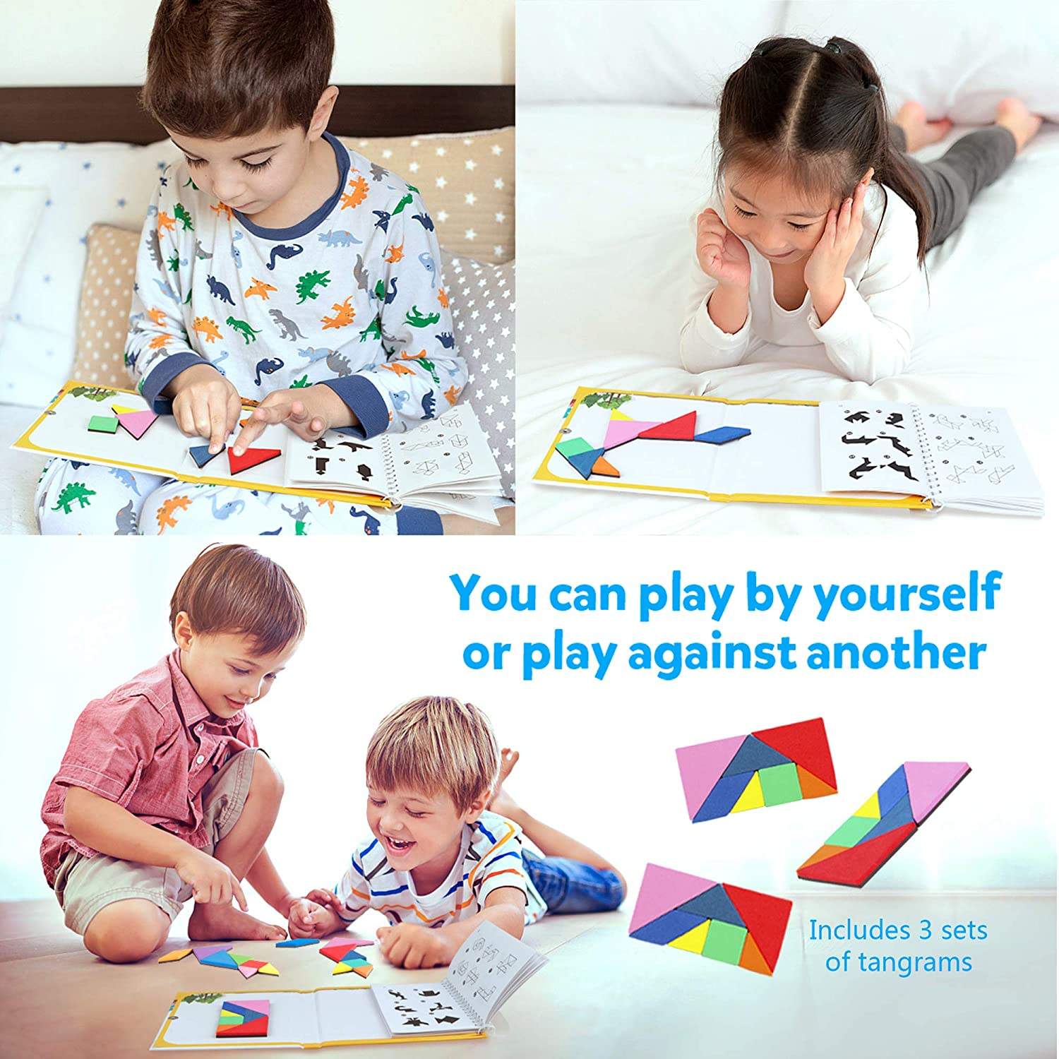 Montessori Shape Pattern Blocks Jigsaw Road Trip Games IQ Book Educational Toy Brain Teaser Gift for Kids Adults Challenge Vanmor Travel Tangram Puzzle 3 Set of Magnetic Tangram with 240 Solution