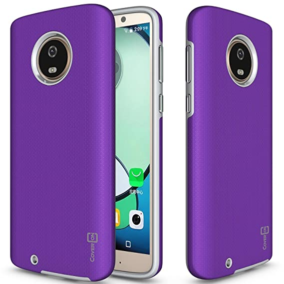 wholesale dealer 04b91 ba4a0 CoverON Motorola Moto G6 Phone Case - Rugged Series Protective Shock  Absorbing Hard Phone Cover with Easy-Press Metal Buttons - Pretty Purple